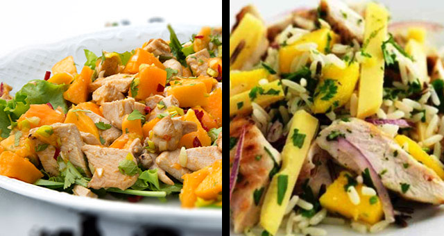 rica ensalada con pollo y mango